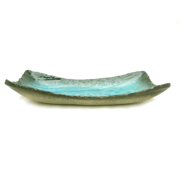 Turquoise Crackle Glass Glaze Dish