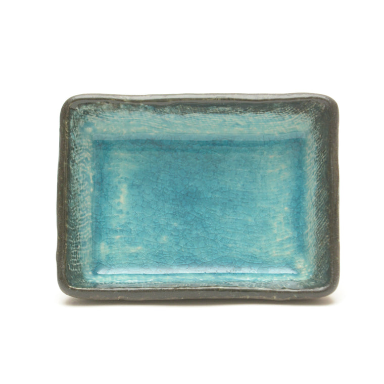 Turquoise Crackle Glass Glaze Dish – Small Rectangular
