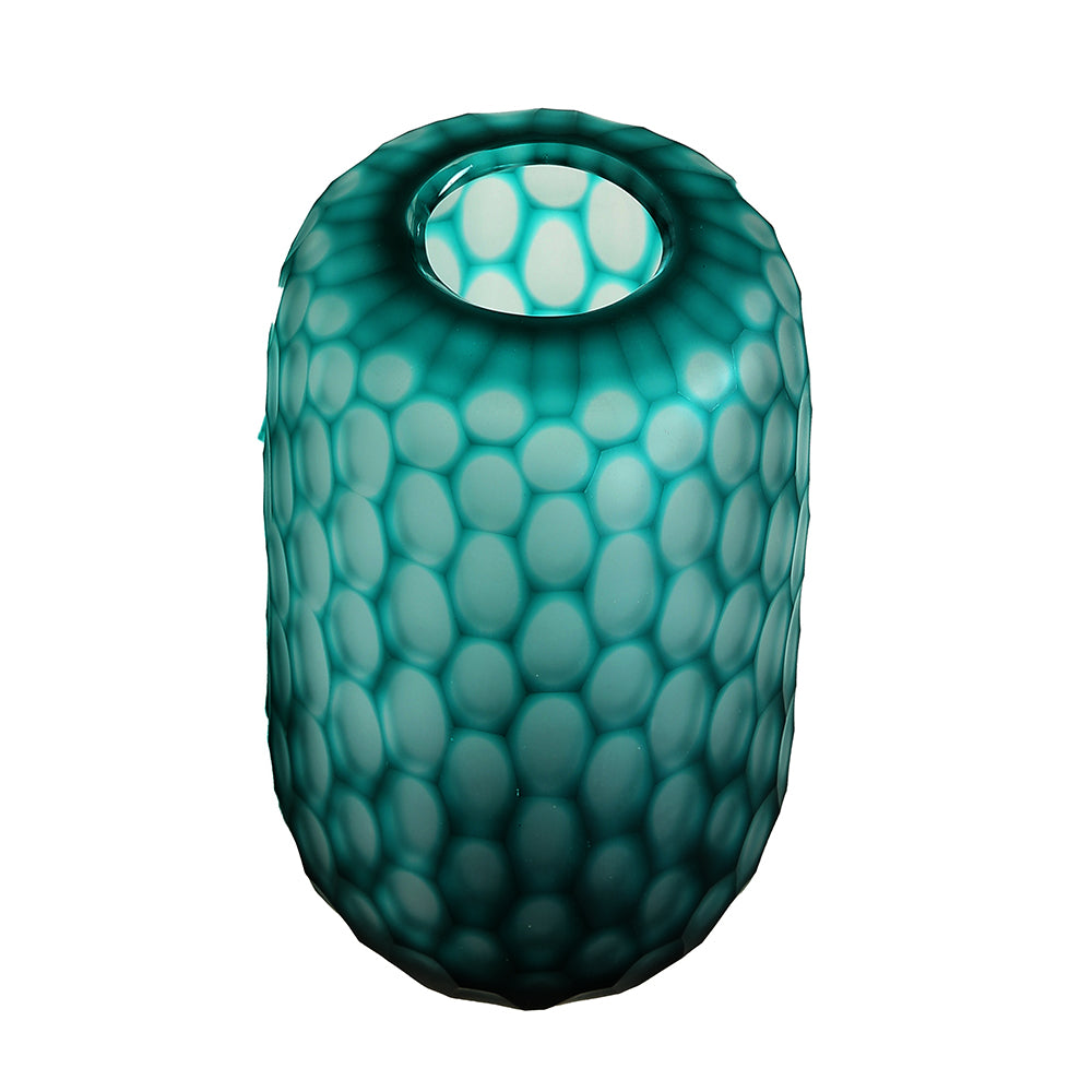 Turquoise Honeycomb Glass Vase – Medium