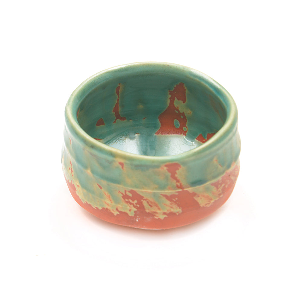 Turquoise and Terracotta Japanese Matcha Tea Bowl