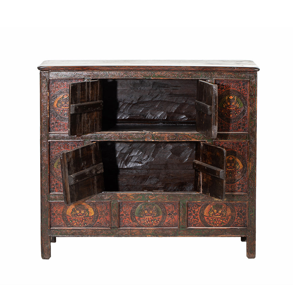 Vintage Tibetan Cabinet with Dragon Heads