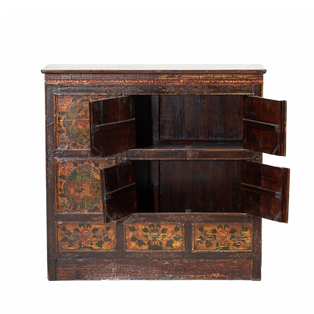 Vintage Tibetan Cabinet with Mythological Creatures