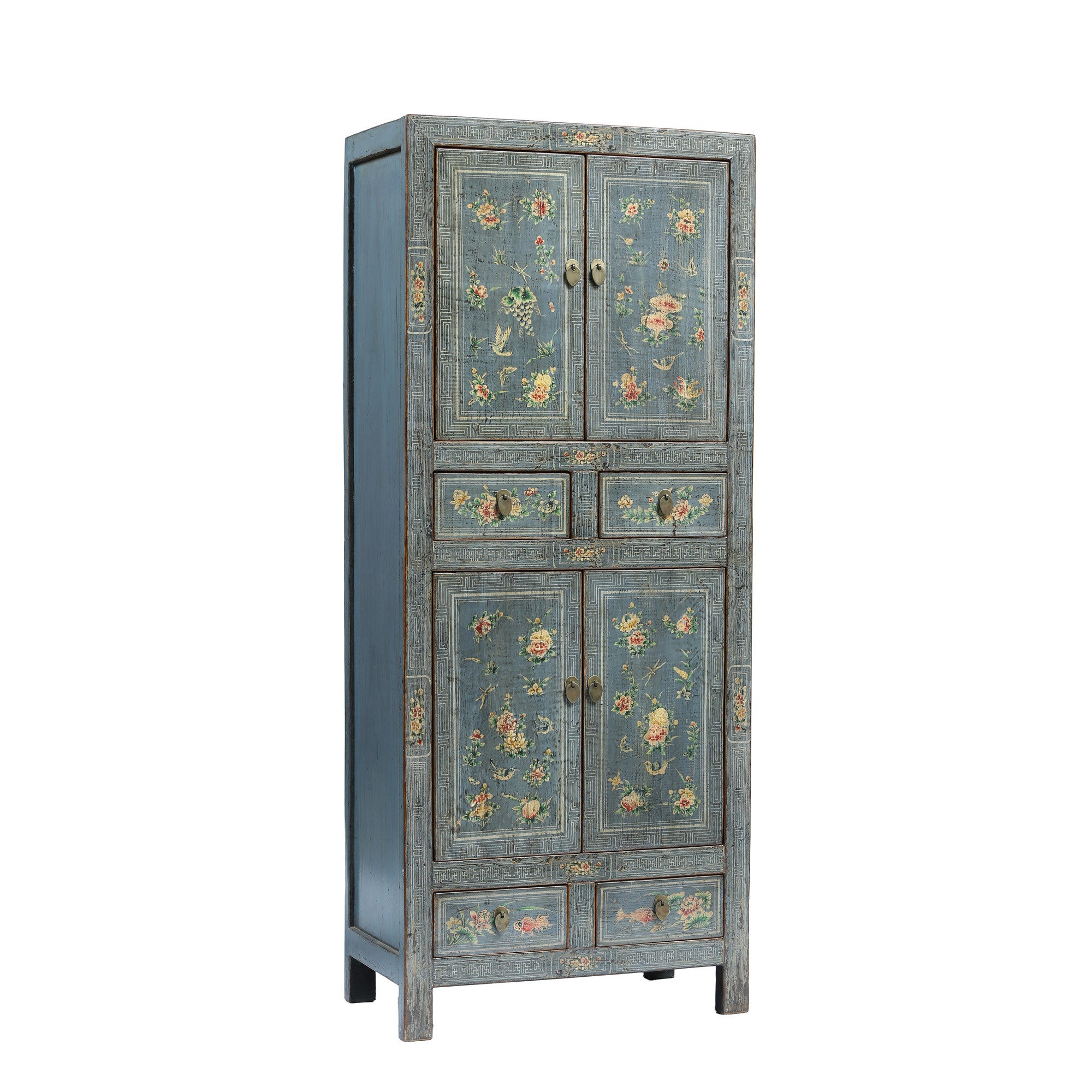 Tall Chinese Blue Grey Cabinet side view