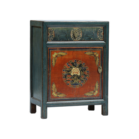 Painted Green/Blue and Orange Chinese Bedside Cabinet