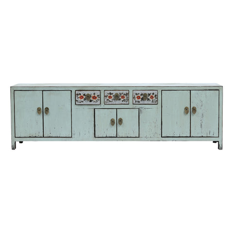 Light Blue Low Sideboard with Red Flowers
