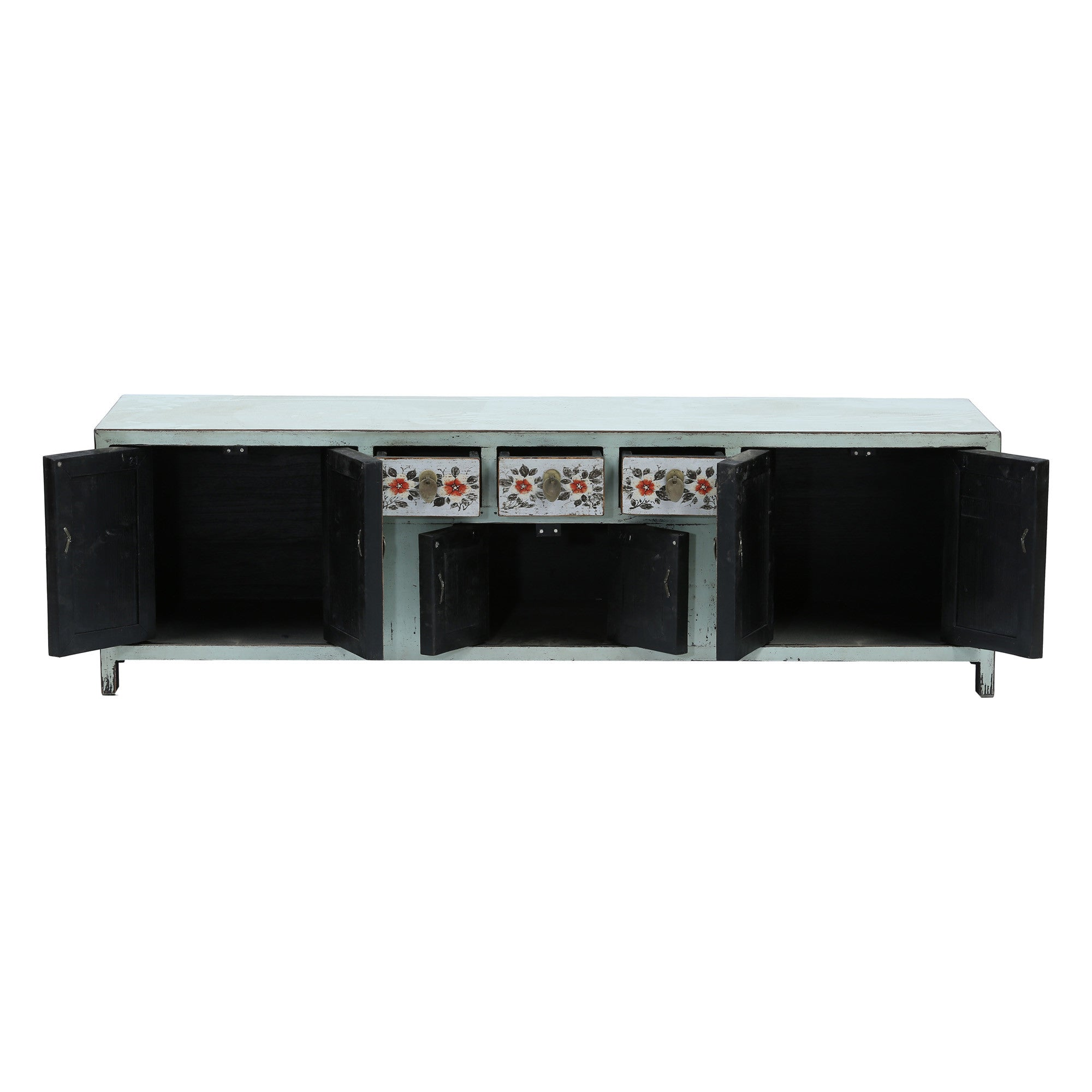 Light Blue Low Sideboard with Red Flowers with doors and drawers open