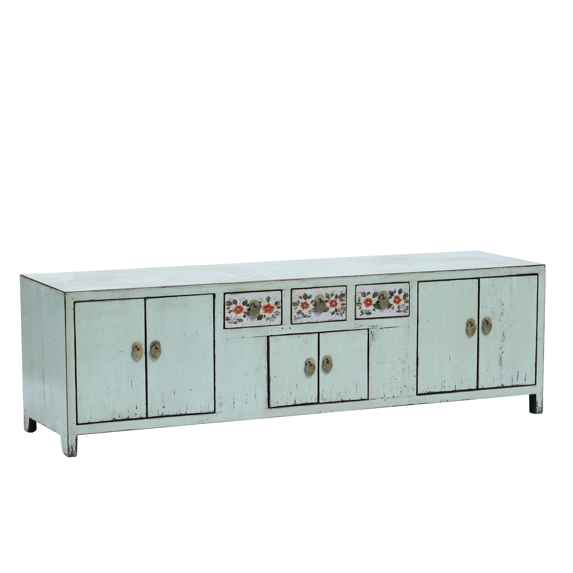 Light Blue Low Sideboard with Red Flowers side view