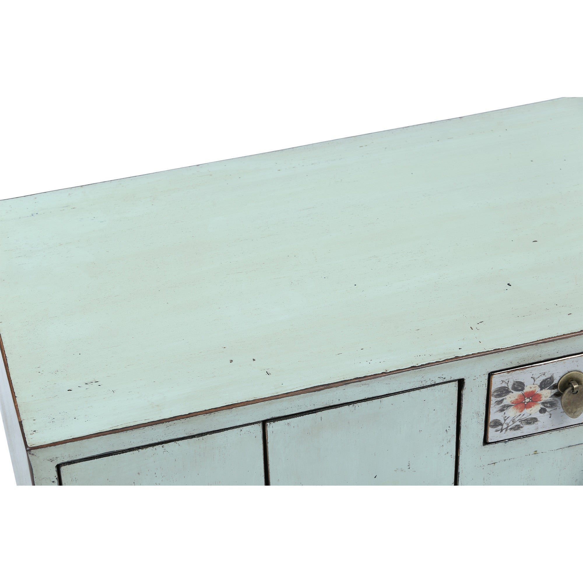 Light Blue Low Sideboard with Red Flowers surface detail