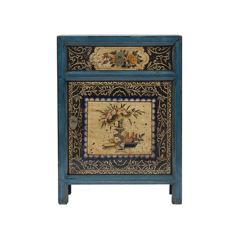 Painted Blue and Black Chinese Bedside Cabinet