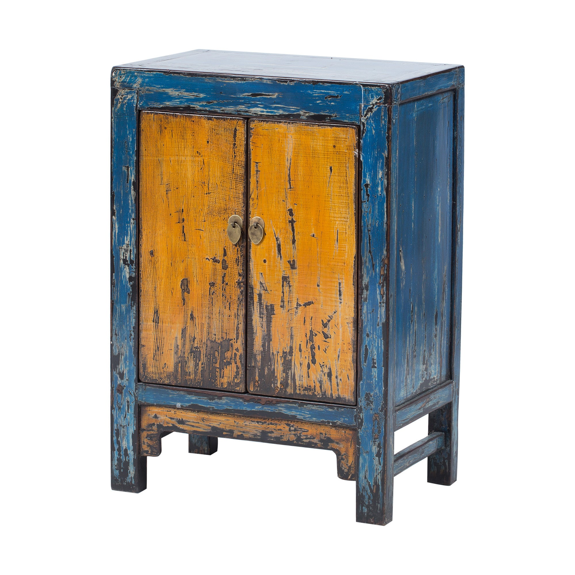 Painted blue yellow 2-doors Cabinet