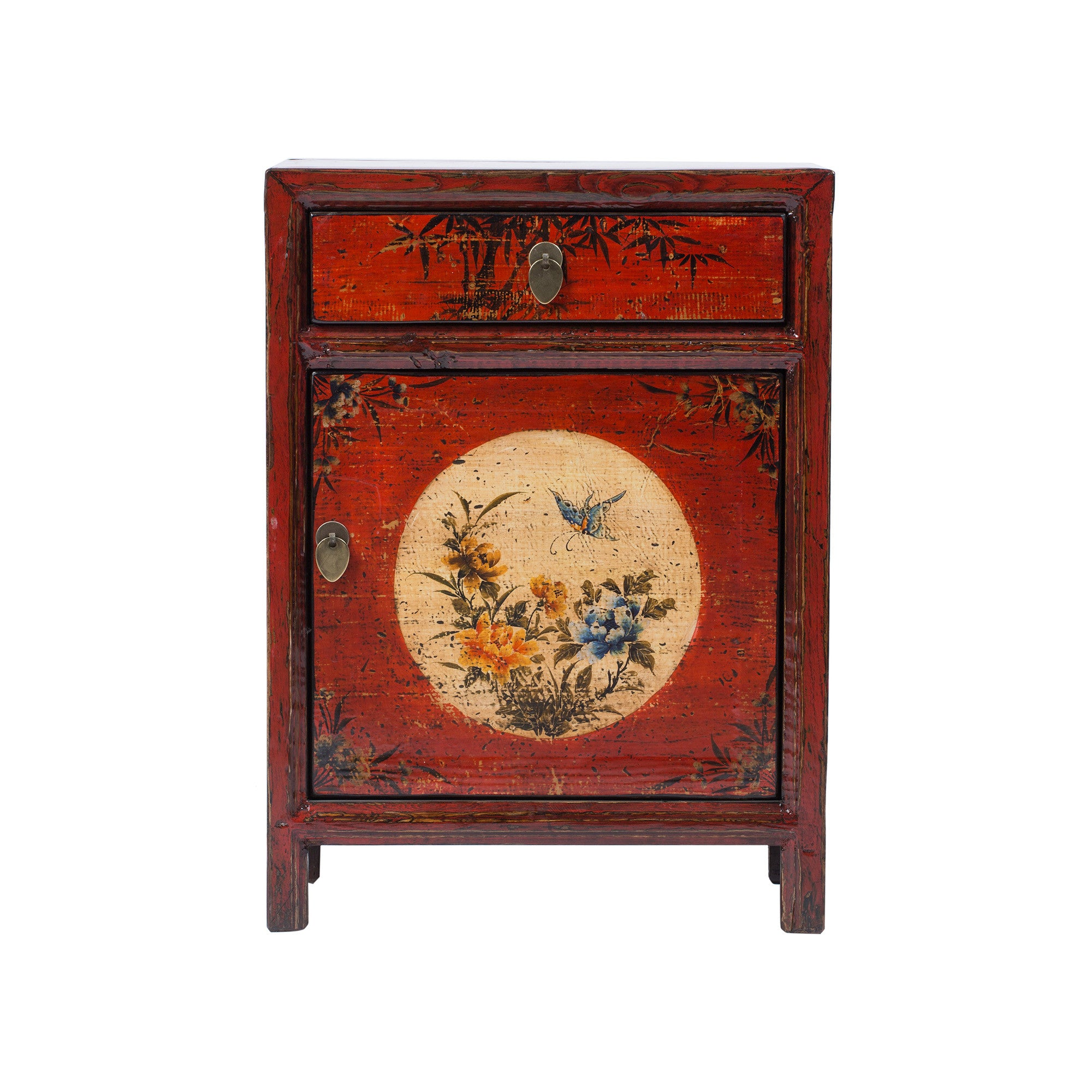 Red Chinese Painted Bedside Cabinet   Chinese Homewares  Rouge Shop Antique  Stores London   City