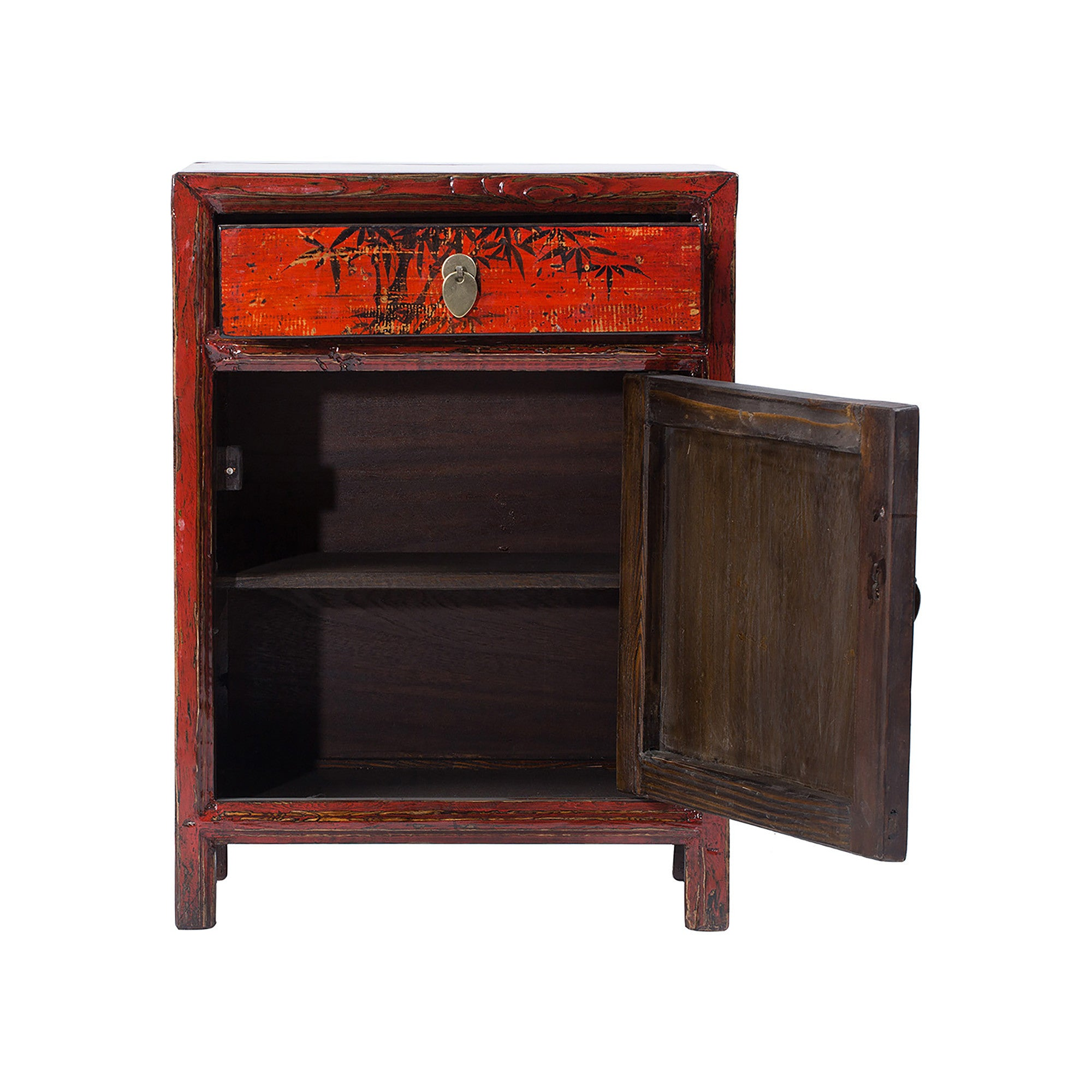 Red Chinese Painted  Bedside Cabinet - Chinese homewares- Rouge Shop antique stores London - city furniture