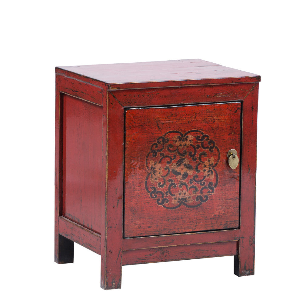 Red Chinese Bedside Cabinet Dongbei Style