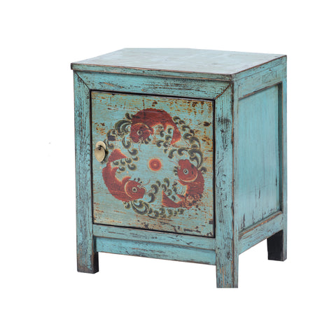 Small Light Blue Chinese Cabinet - Fish Motif