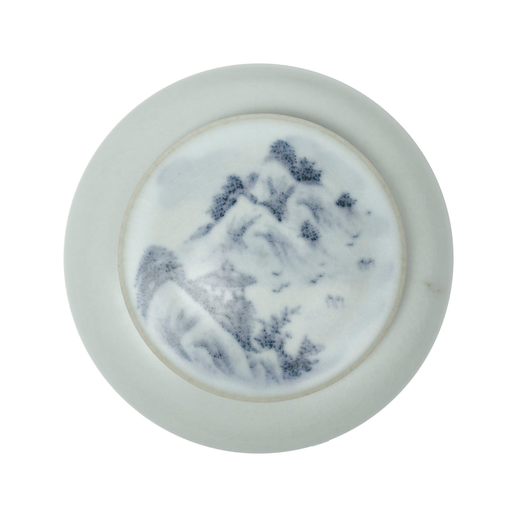 Hand Painted Porcelain Tea Jar with Mountain Scene No.12