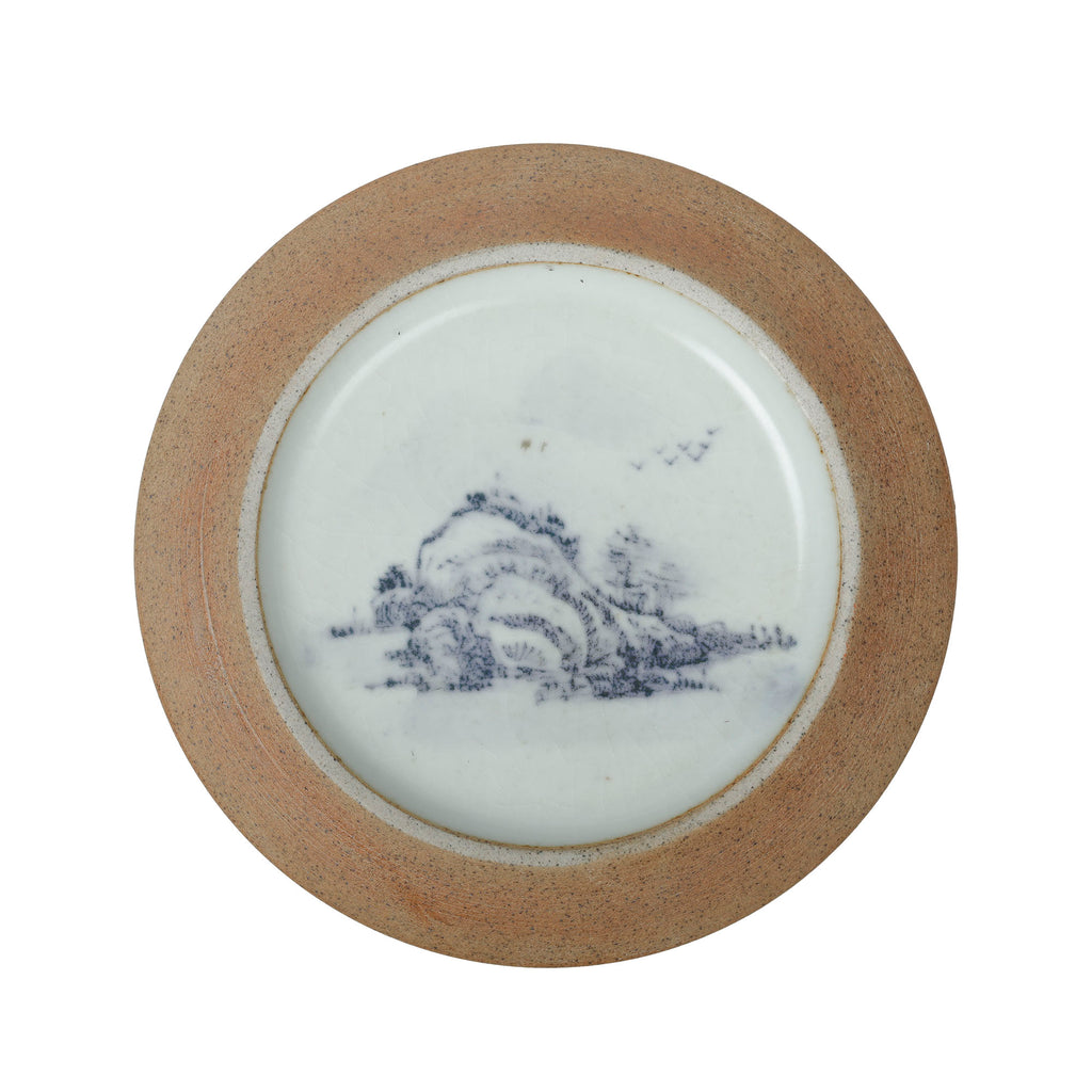Hand Painted Porcelain Tea Jar with Mountain Scene No.21