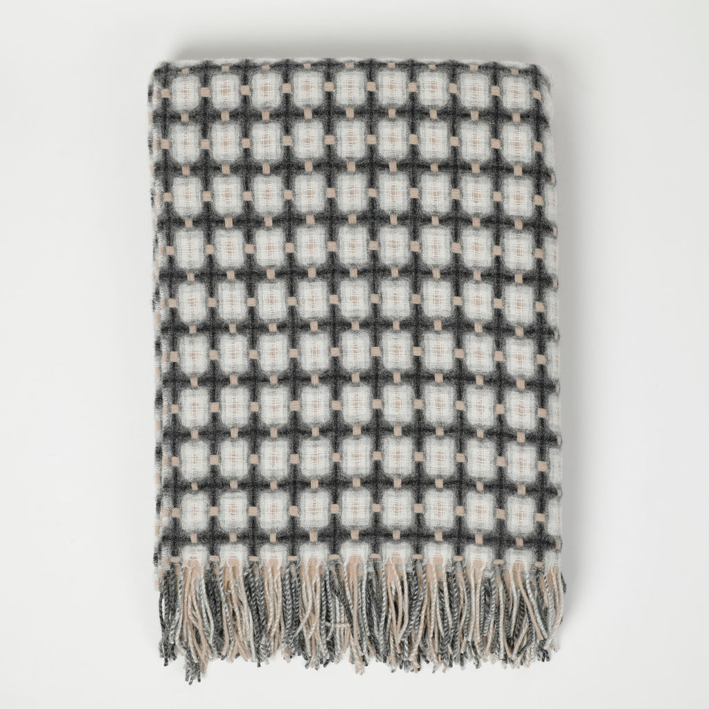 Charcoal and Fawn Basket Weave Throw by Paulette Rollo
