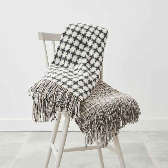 Stone Grey Basket Weave Throw by Paulette Rollo