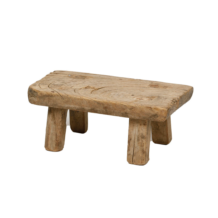 Vintage Chinese Elm Low Stool 009