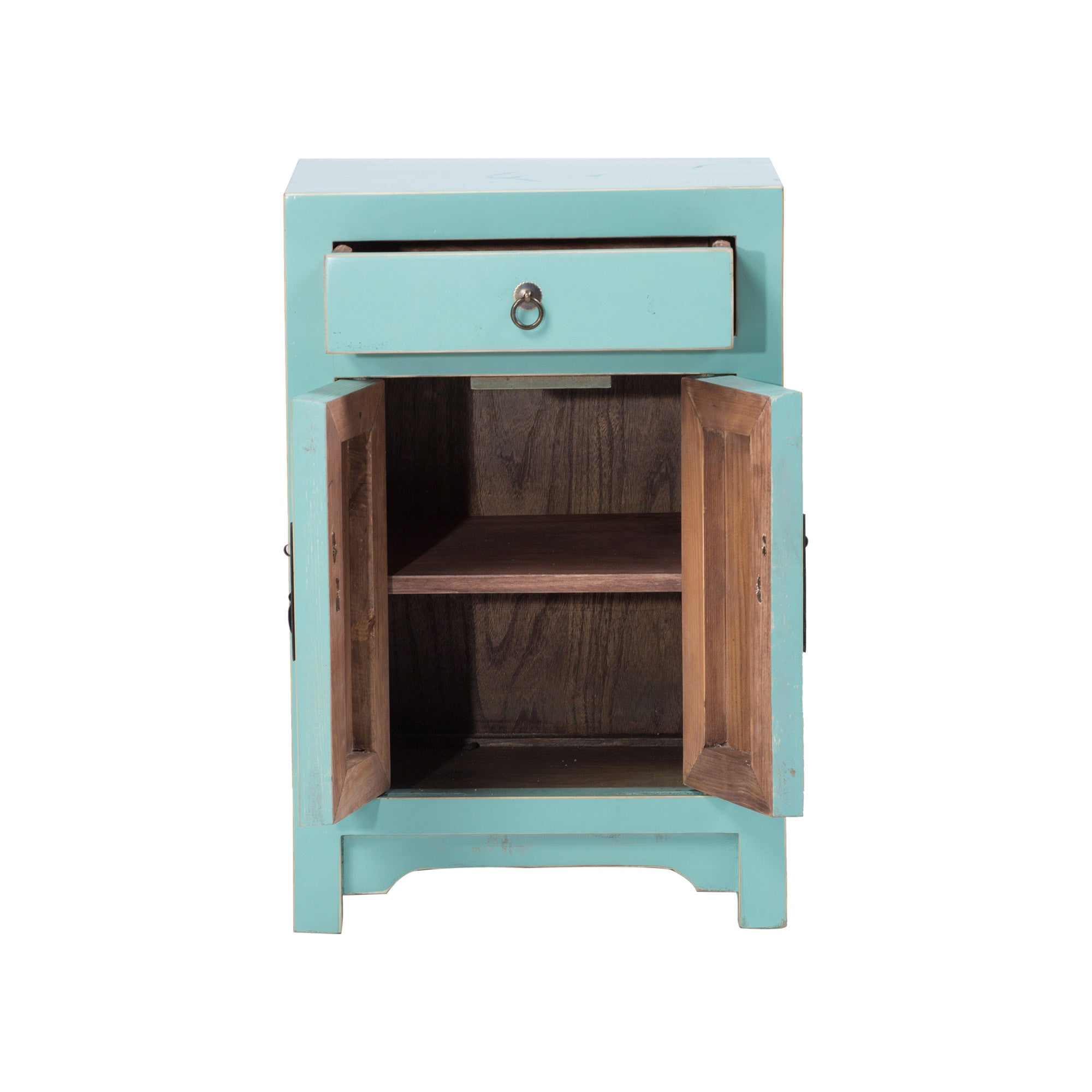 Chinese Bedside Cabinet ShanDong Style drawer and doors open
