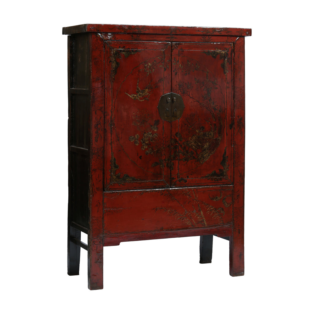 Antique red chinese wardrobe cabinet rouge for Red chinese furniture