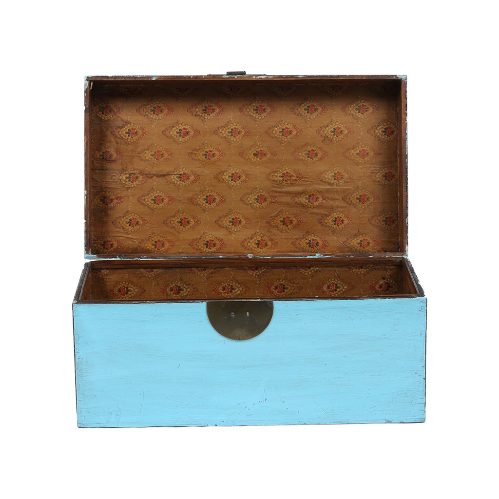 Light Blue Chinese Chest from Shandong lid open