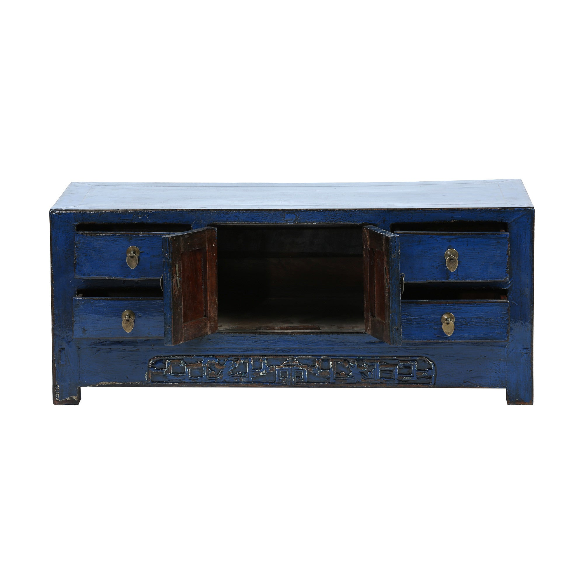 Low Blue Vintage Chinese Sideboard drawers and doors open