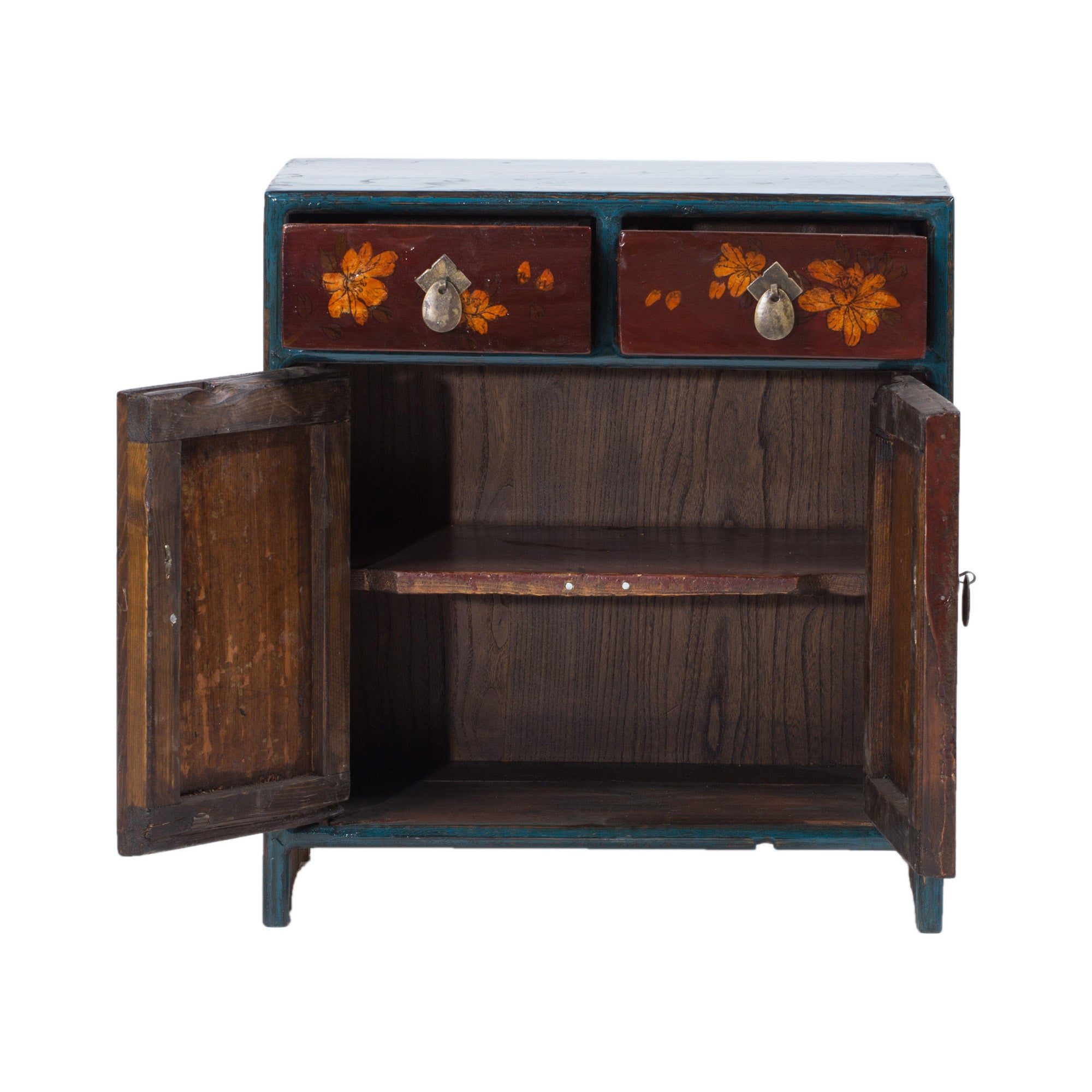 Red/Blue Painted Flower Two-Door Two-Drawer Cabinet - Chinese homewares- Rouge Shop antique stores London - city furniture