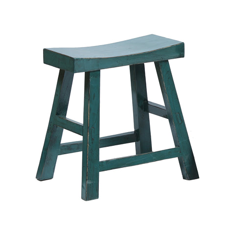 Contemporary Chinese Wooden Stool in Teal