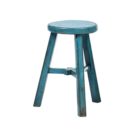 Round Chinese Stool in Teal