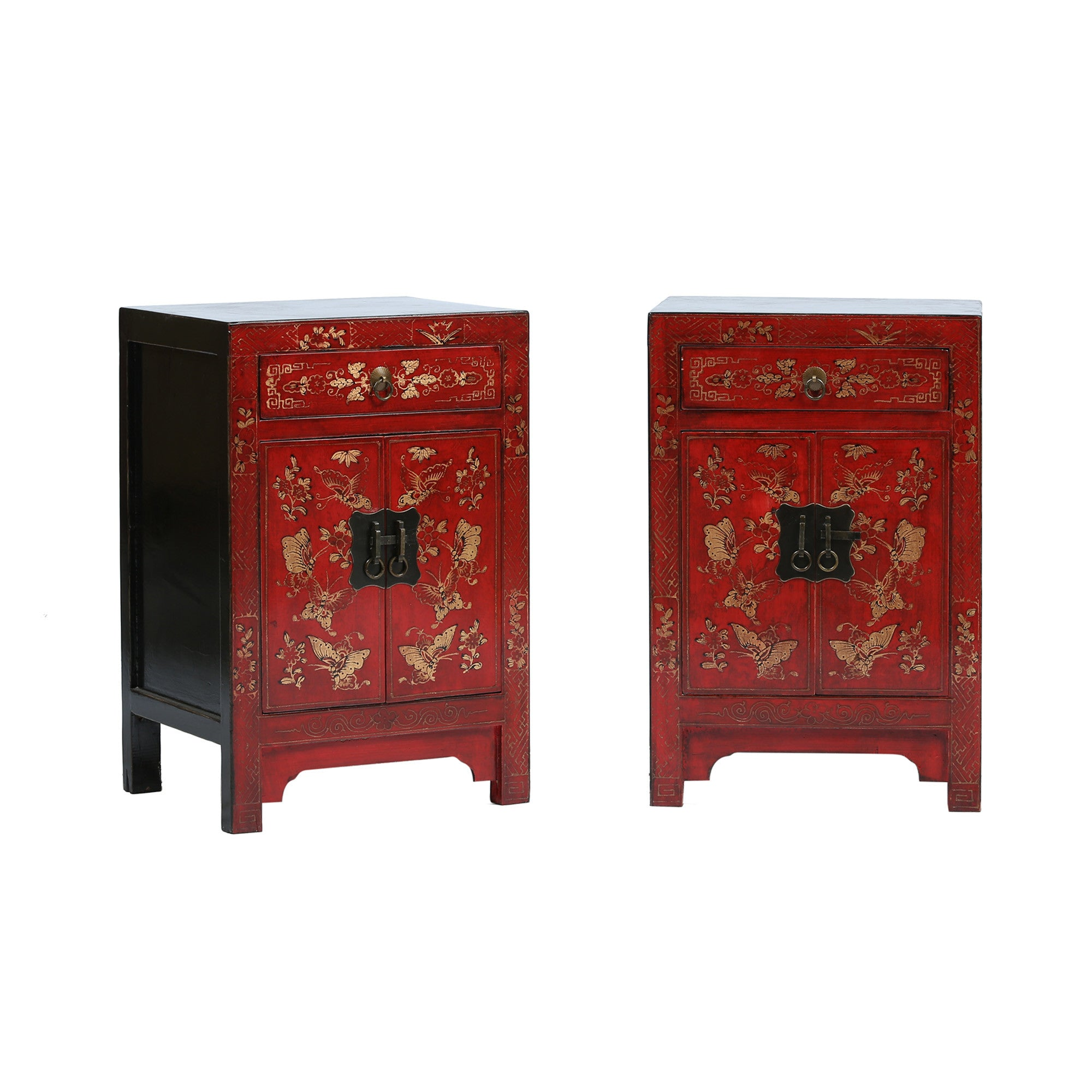 Red Chinese Bedside Cabinet - Butterflies