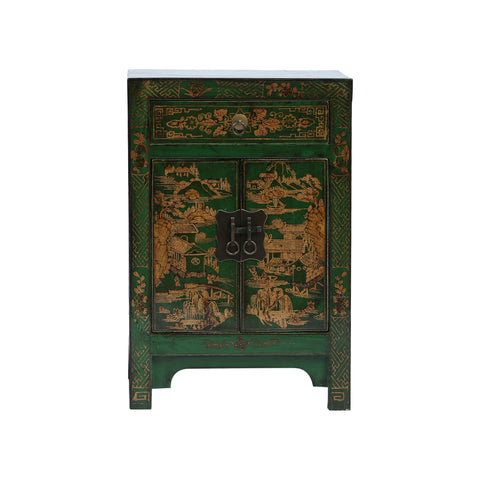 Painted Chinese Bedside Cabinet - Garden Scenes