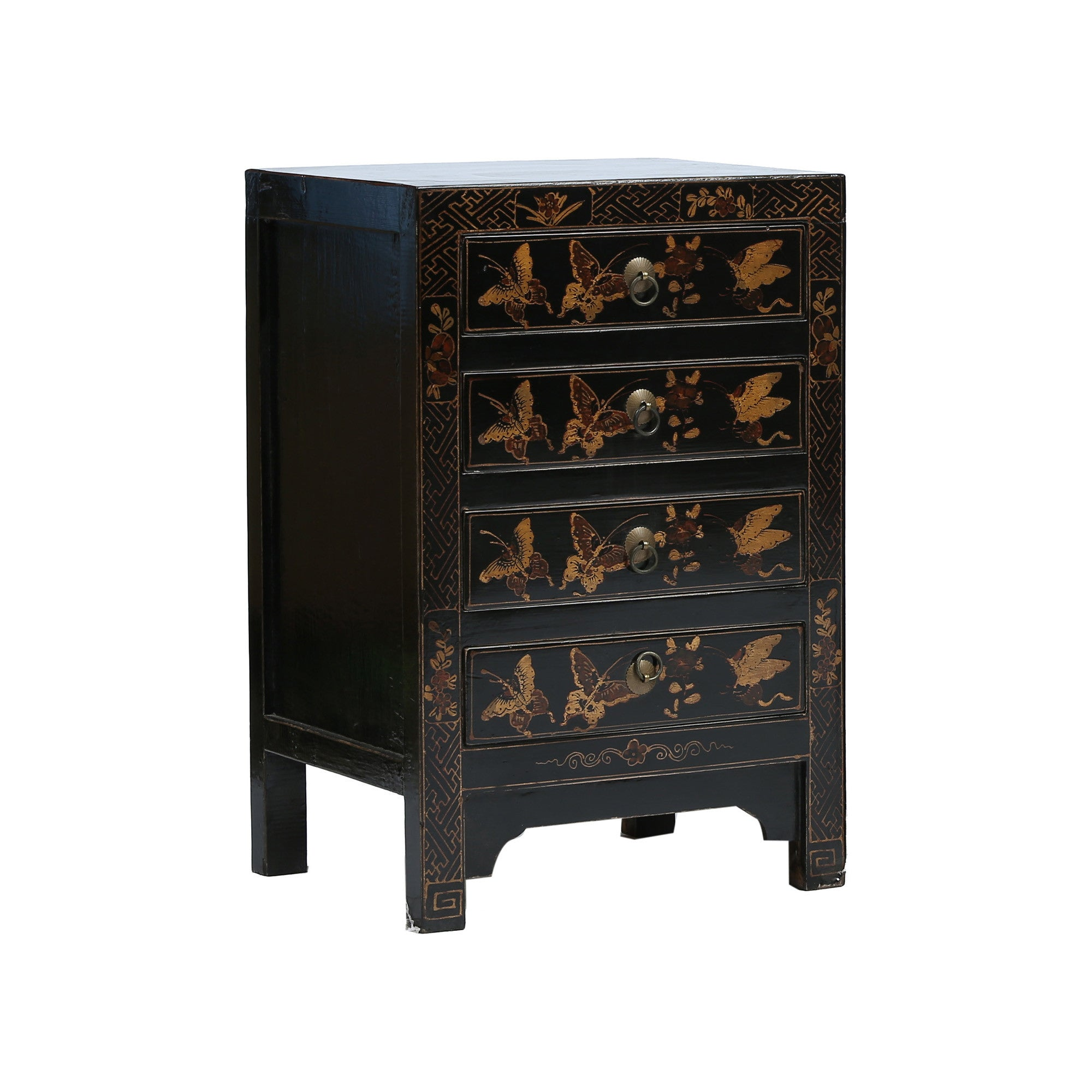 Black and Gold Bedside Chest of Drawers side view