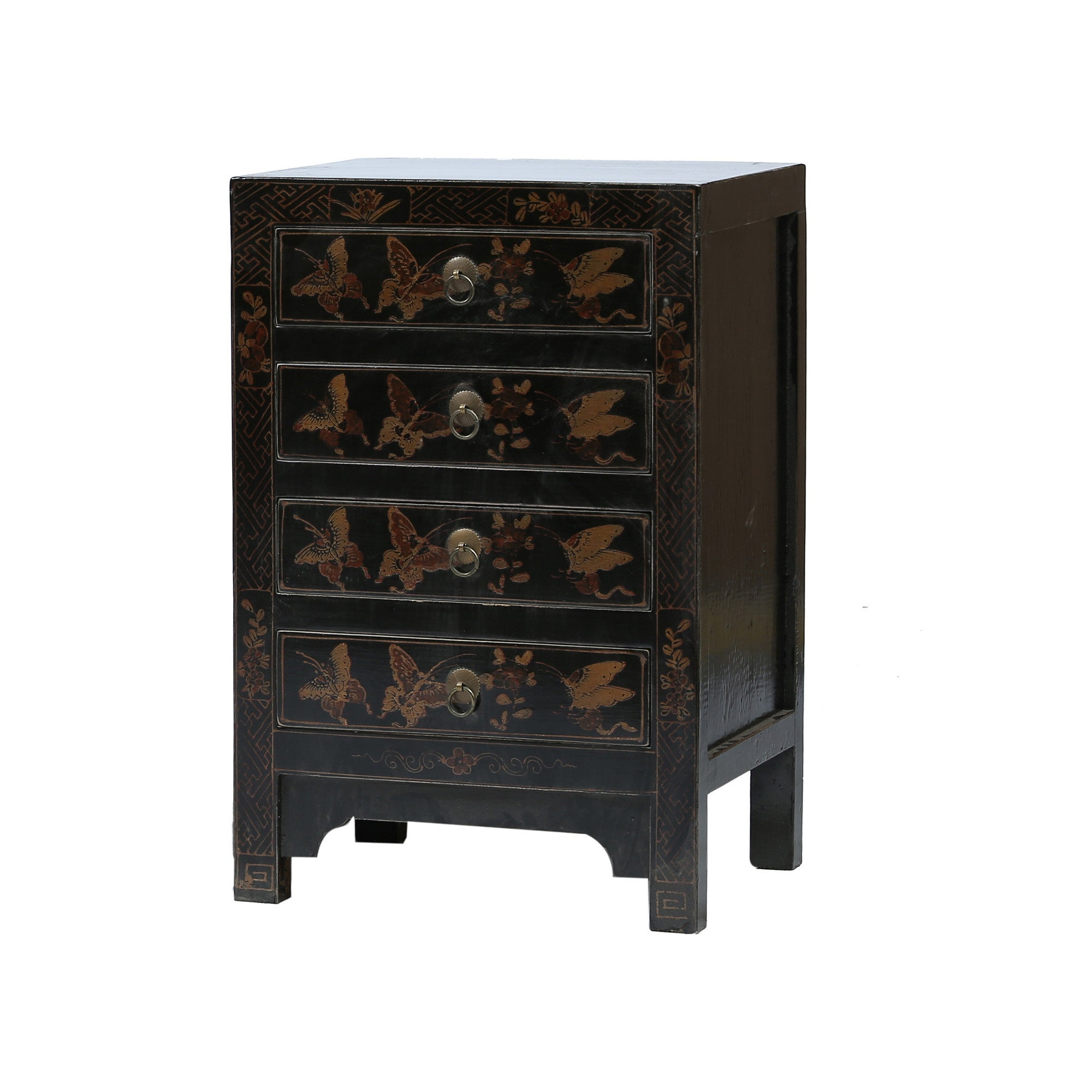 Black and Gold Bedside Chest of Drawers