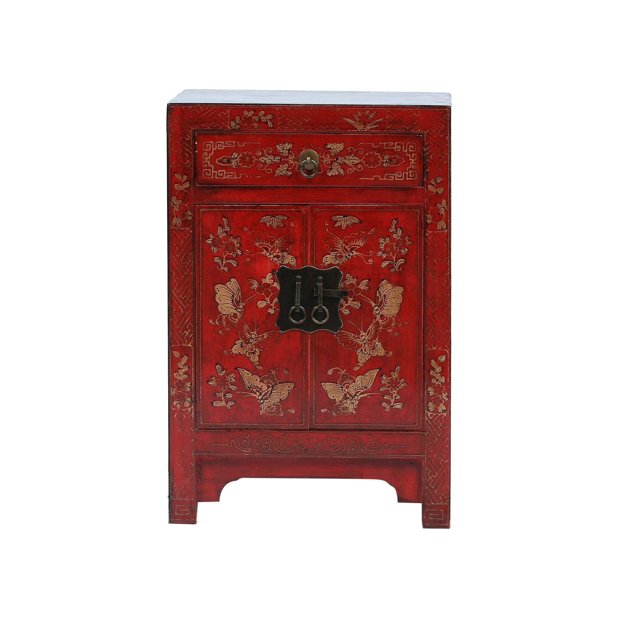 Red Chinese Bedside Cabinet - Butterflies front view