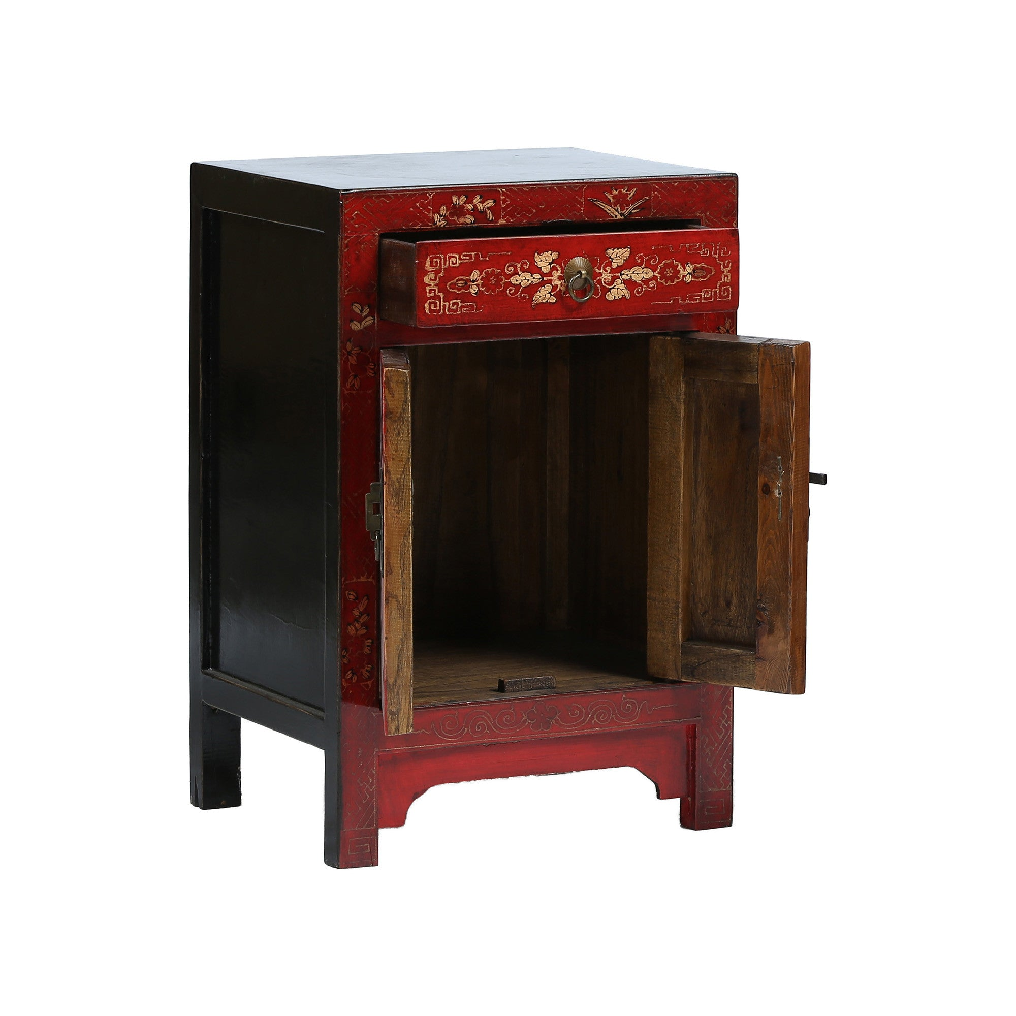 Red Chinese Bedside Cabinet - Butterflies drawer and door open