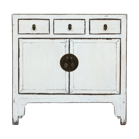 White Vintage Chinese Cabinet from Shanxi