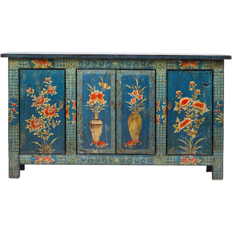 Contemporary Painted Blue Chinese Cabinet