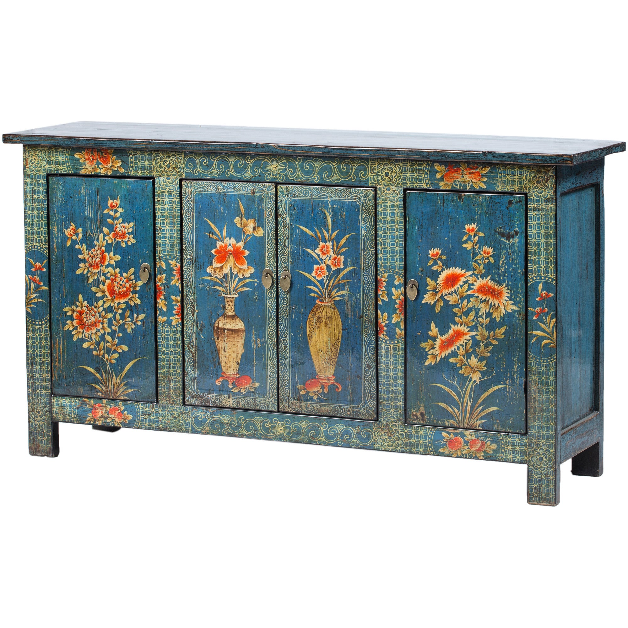 Contemporary Painted Blue Chinese Cabinet side view