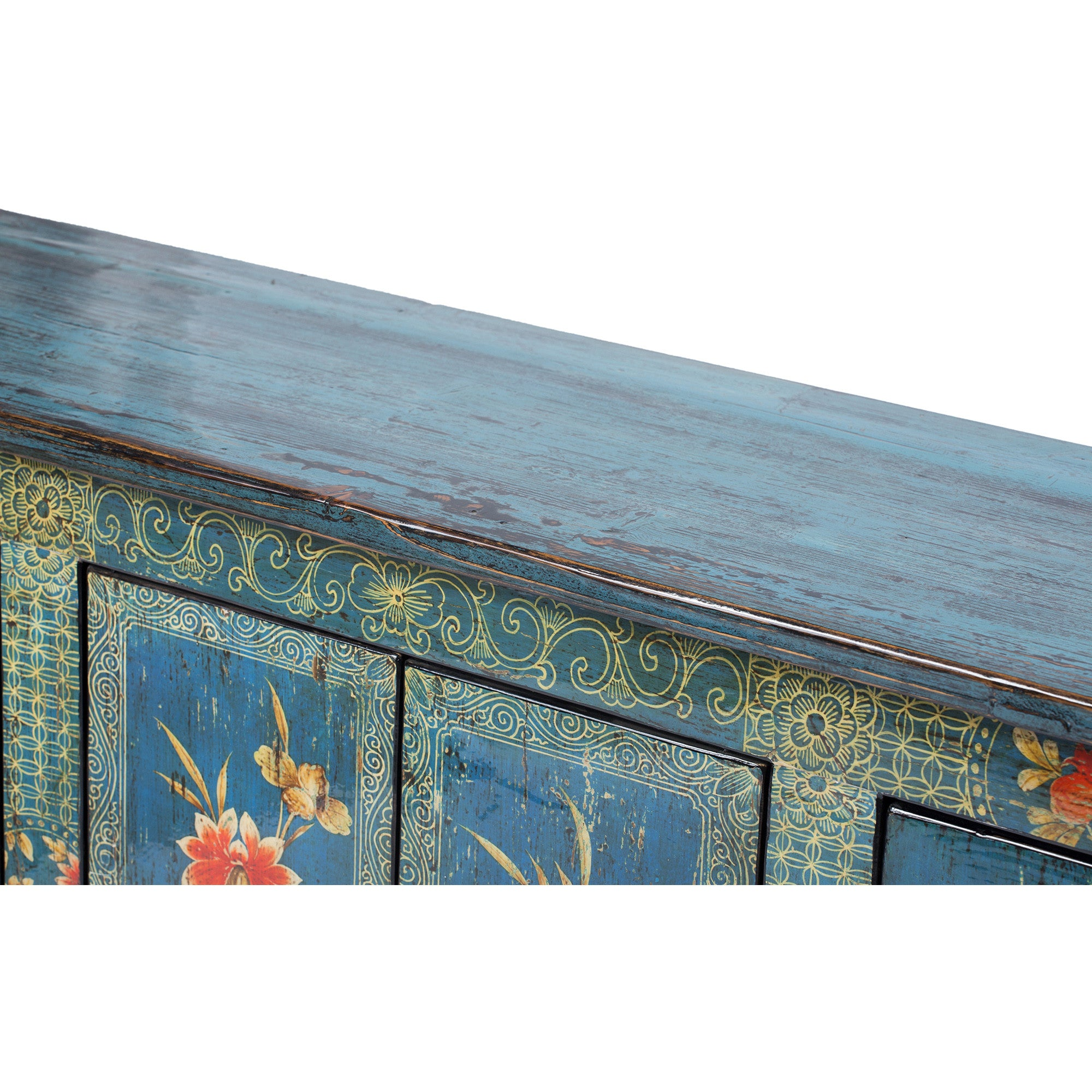 Contemporary Painted Blue Chinese Cabinet surface detail