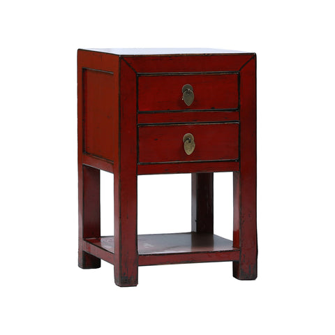 Red Chinese Bedside Table