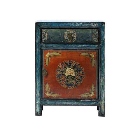 Painted Blue and Orange Chinese Bedside Cabinet