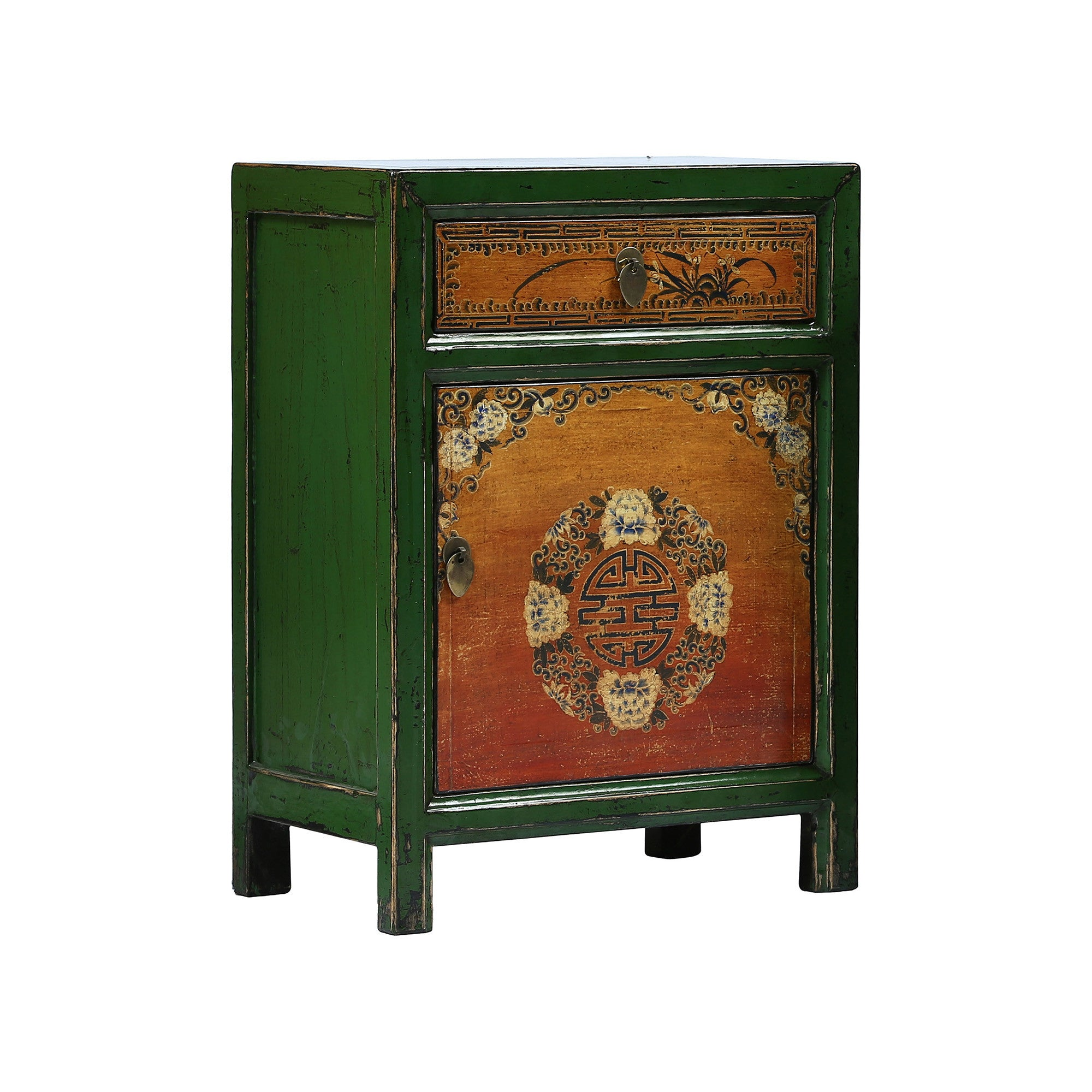 Painted Chinese Bedside Cabinet