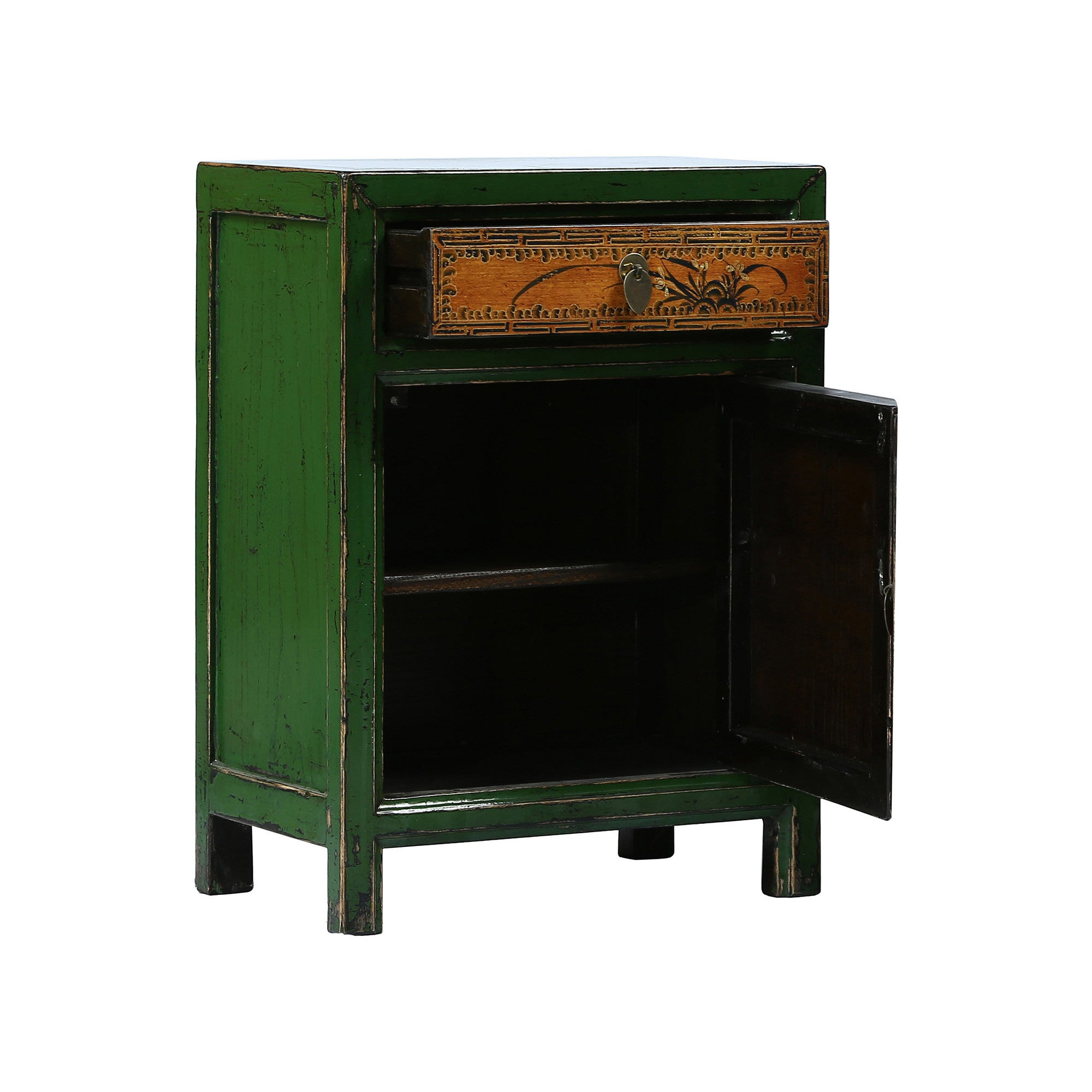 Painted Chinese Bedside Cabinet with drawer and door open