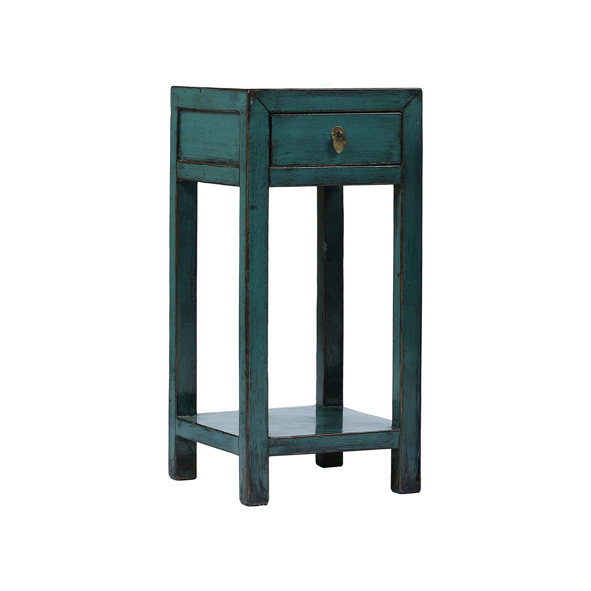 Square Blue Chinese Side Table with Shelf side view