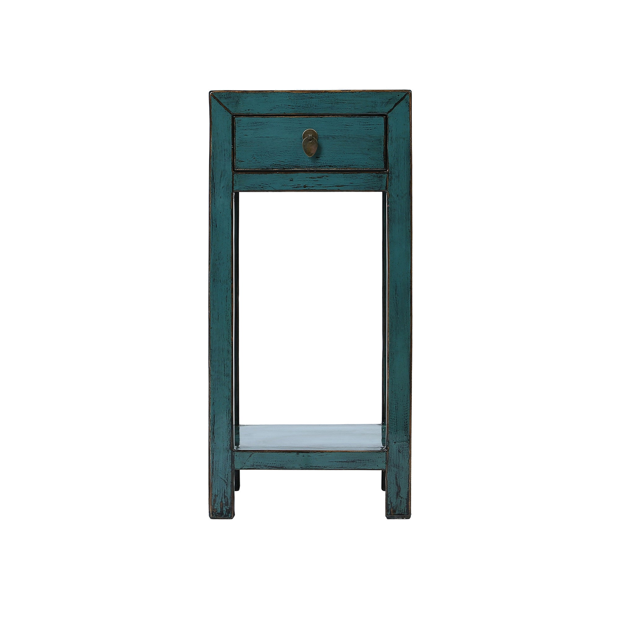 Square Blue Chinese Side Table with Shelf