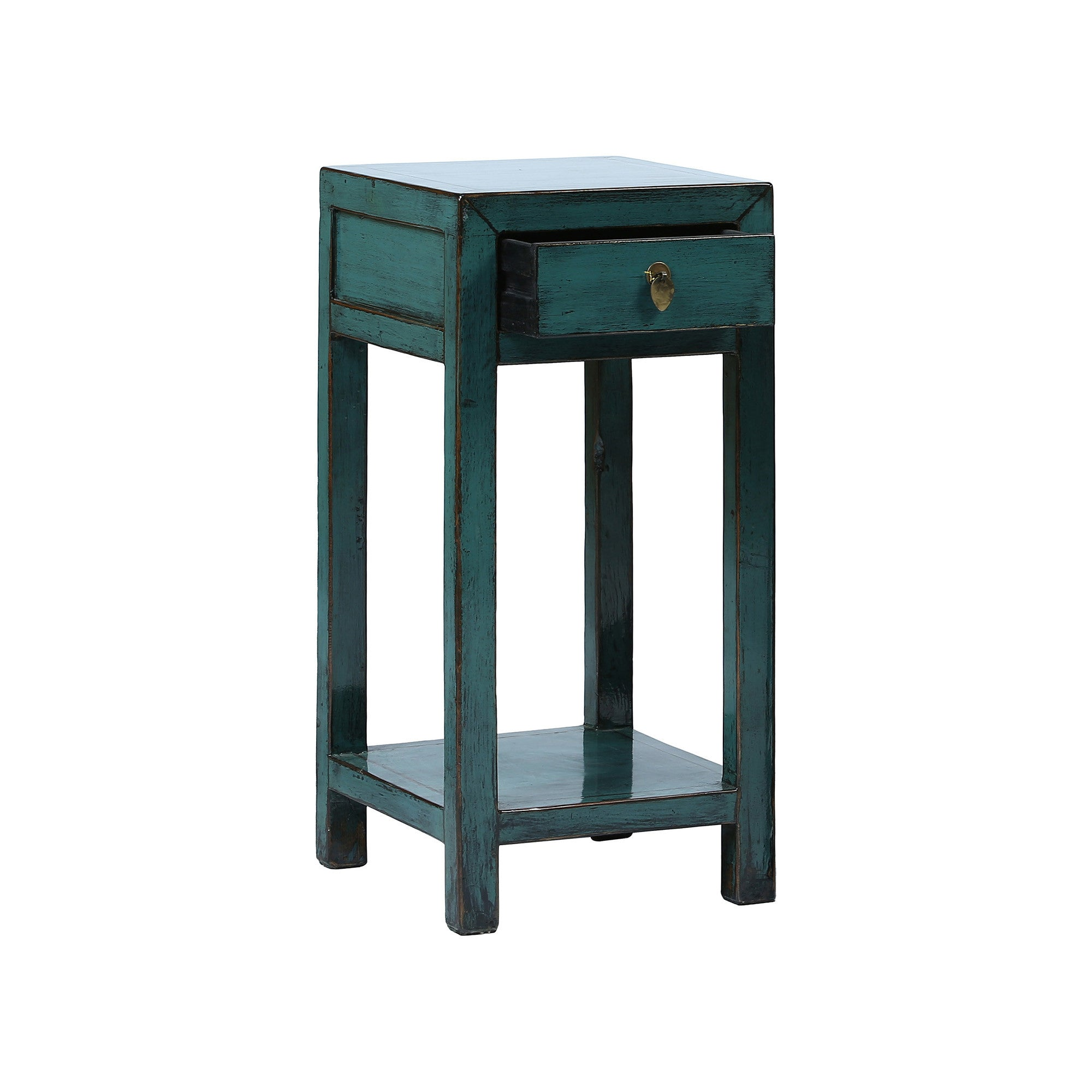 Square Blue Chinese Side Table with Shelf drawer open