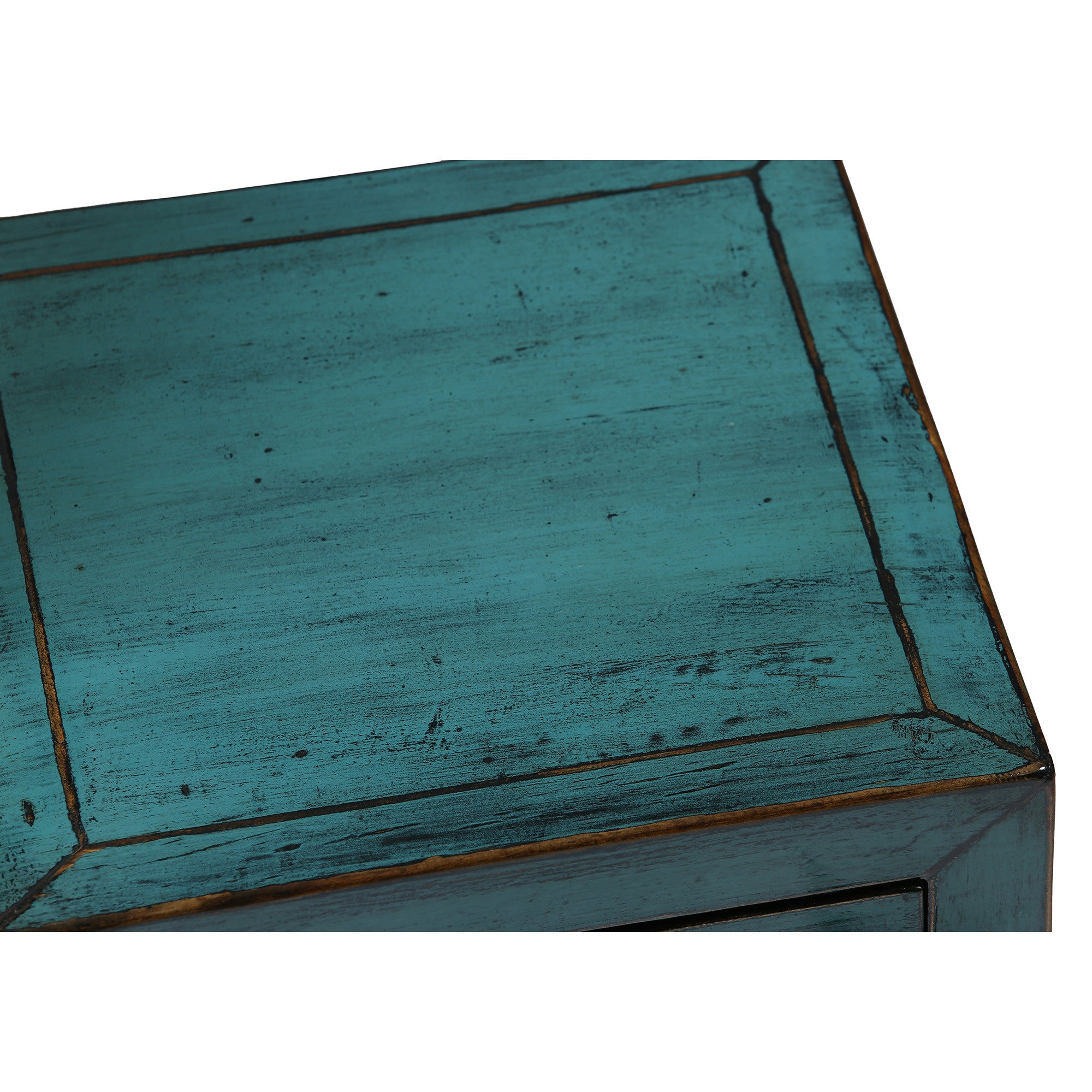 Square Blue Chinese Side Table with Shelf surface detail