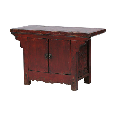Dark Red Vintage Chinese Two-door Cabinet side view - Vintage Rustic Chinese Furniture Rouge
