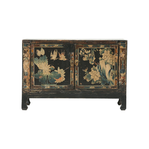 Vintage Chinese cabinet from Pinyao with birds, vases and floral motifs